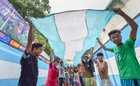 Football enthusiasts wave Argentina's flag in support ahead of FIFA World Cup 2018, in Kolkata on June 12, 2018. PTI photo