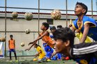 Aspiring football players at a practice session in Chennai on June 12, 2018. PTI
