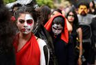 Students dressed in costume line up ahead of a Halloween fashion show in Bangalore on October 31, 2015.AFP photo