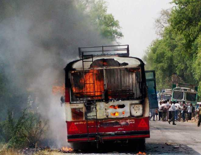 Nine killed after bus catches fire