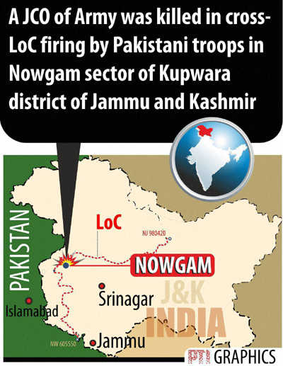 JCO killed as Pak flouts ceasefire in Nowgam