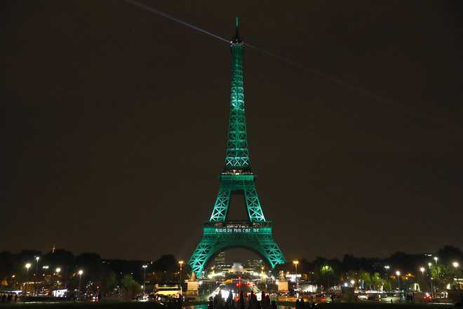 Eiffel Tower Lit Green In Honour Of Paris Climate Change Deal