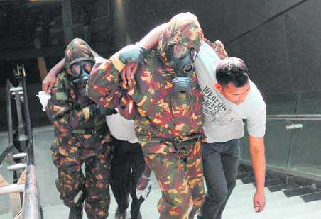 Chemical attack mock drill at Metro station