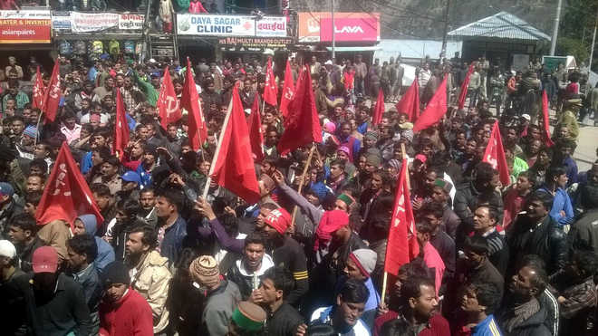 Lift Section 144, clear dues, demand protesting workers