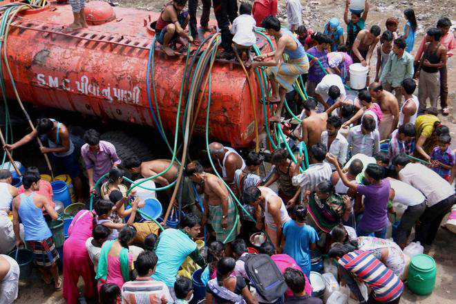 Water trains bring scant relief here