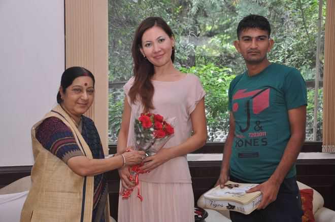 Haryana's Kazakh bahu thanks Swaraj for visa extension