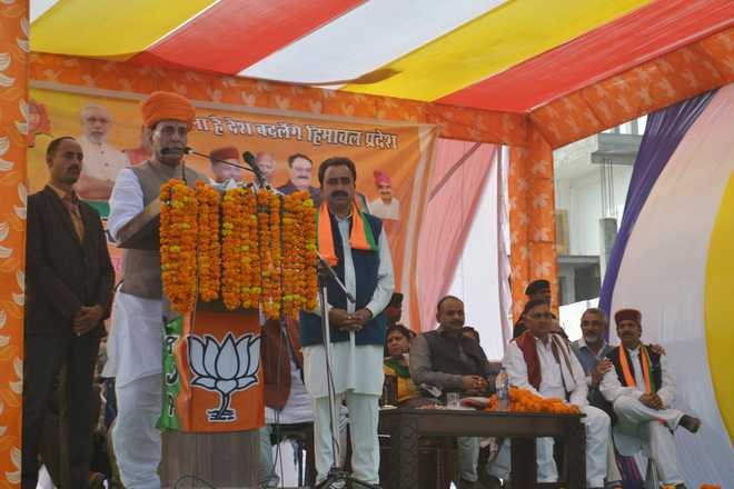 Development vanishes whenever Cong comes to power: Rajnath in Solan