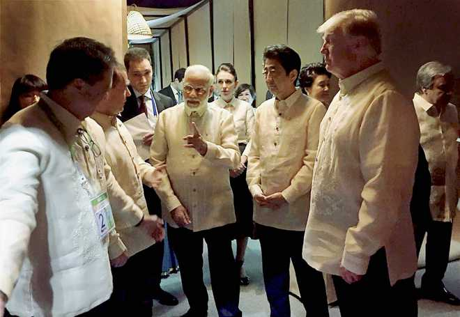 PM Modi briefly meets Trump, world leaders at ASEAN gala dinner