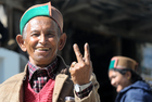 A old man coming out after casting his votes at one of the polling station at Kalpa, a small town in the Sutlej river valley, above Recong Peo in the Kinnaur district of Himachal Pradesh. Tribune photo: S Chandan