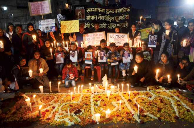Survivors hold a march on Bhopal Gas Tragedy anniversary
