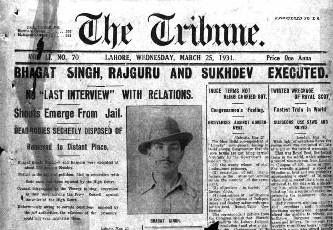 From The Tribune archives: 'Bhagat Singh, Rajguru and Sukhdev executed'