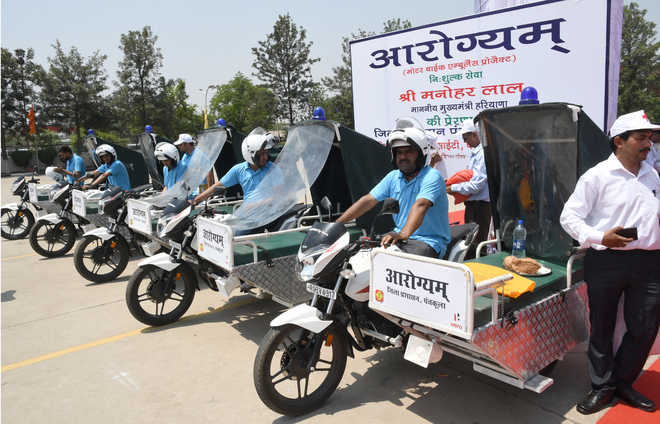 A first, CM Khattar launches motorbike ambulance services