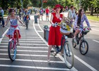 Participants in the 5th Lady on Bicycle annual festival ride their bikes in Sokolniki park in Moscow on August 6, 2017. AFP