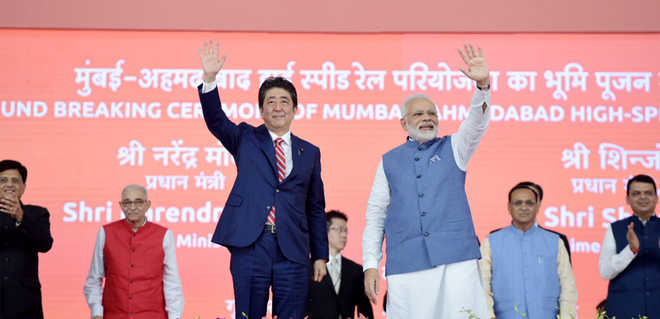 PM Modi, Abe lay foundation stone of India's first bullet train