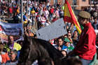 People hold a banner reading 'Live the bull of Vega' during a demonstration to support bullfighting, formerly known as Toro de la Vega in the central Spanish town of Tordesillas, on September 12. AFP
