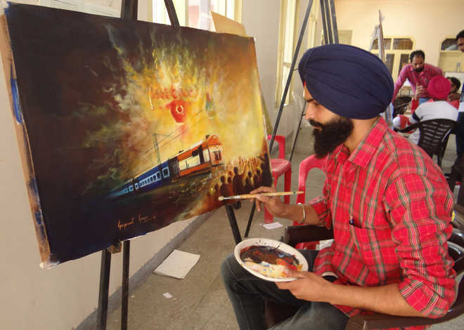 Train mishap finds echo at painting workshop