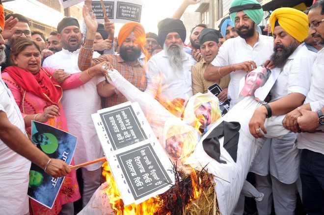 Protest for action against Sidhu