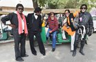 Bollywood actor Amitabh Bachchan's fans impersonate him as they celebrate his 76th birthday, in Ahmedabad, October 11. PTI