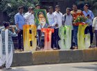 Fans gather outside Bollywood actor Amitabh Bachchan's bungalow Prateeksha to celebrate his 76th birthday, in Mumbai, October 11. PTI