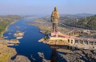 A view of Statue of Unity, in Kevadia colony of Narmada district, October 31. @PMOIndia Twitter via PTI