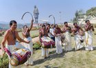 Artists perform during the inauguration of Statue of Unity on the occasion of the 143rd birth anniversary of Sardar Vallabhbhai Patel, at Kevadiya colony of Narmada district, October 31. @narendramodi Twitter photo via PTI
