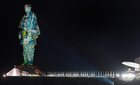 A view of Statue of Unity during a laser show, in Kevadia colony of Narmada district. PTI