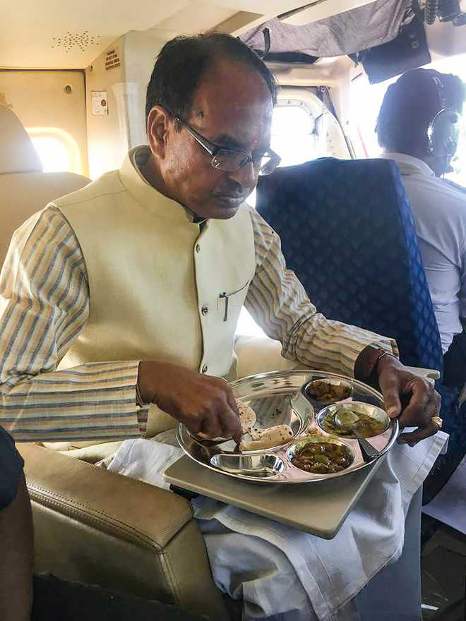 Home-cooked food, nap in chopper, multiple rallies make up Shivraj Chouhan's schedule
