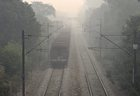 A train runs through the thick haze, a day after Diwali celebrations, in New Delhi, November 8. PTI