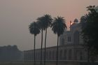 A view of Humayun's Tomb amid heavy smog in New Delhi on November 8, a day after the Diwali festival. AFP