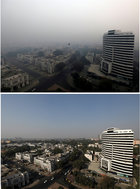 A combination picture shows buildings shrouded in smog in New Delhi, November 8, 2018 (top) and at the same place November 7, 2018. Reuters