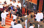 Chaos in Lankan House; chilli powder, chairs hurled