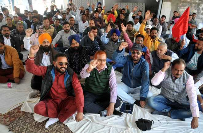 Railway employees press for demands