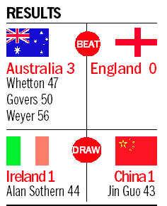 Oz drub England, China hold Ireland
