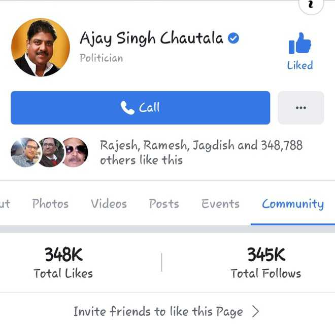 'Person of eminence' tag on FB for convict Ajay Chautala