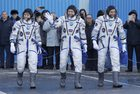 US astronaut Anne McClain, left, Russian cosmonaut – Oleg Kononenko, centre, and CSA astronaut David Saint Jacques, members of the main crew of the expedition to the International Space Station (ISS), walk to report to members of the State Committee prior to the launch of Soyuz MS-11 space ship at the Russian leased Baikonur cosmodrome, Kazakhstan. AP