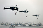 Indian Navy marine commandos demonstrate their skills during Navy Day celebrations in Mumbai, December 4. Reuters