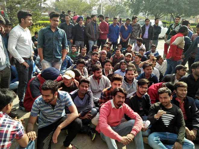 MIMIT students stage protest outside principal's office