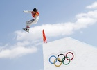 Jamie Anderson of the US competes in snowboarding. Reuters