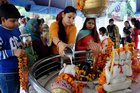 Devotees offer milk to Lord Shiva on the occasion of Hindu festival Mahashivratri in Amritsar on Tuesday. PTI
