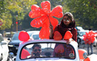 A couple celebrates Valentine's Day at Azadi Road in Sector 10 in Chandigarh on Wednesday. Tribune photo: Ravi Kumar