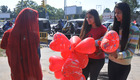 Girls take balloons on Valentine Day's in Mohali on Wednesday. Tribune photo: Vicky