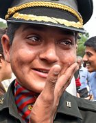 A cadet in tears after her graduation ceremony at the Officers Training Academy (OTA) in Chennai on March 10, 2018. PTI photo