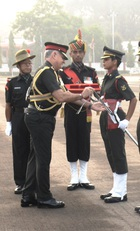 Lt Preeti Choudhary receives the sword from Lt Gen DR Soni, General Officer Commanding-in-Chief, Southern Command, at her graduation ceremony at the Officers Training Academy (OTA) in Chennai on March 10, 2018.