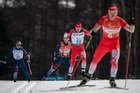 Poland's Lukasz Kubica is lead by his guide Wojciech Suchwalko as he competes in the Visually Impaired Men's 20km Free Cross-Country Skiing at the Alpensia Biathlon Centre during the Pyeongchang 2018 Winter Paralympic Games in Pyeongchang on March 12. AFP