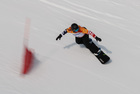 Netherland's Lisa Bunschoten competes during the Women's Snowboard Cross Semifinal Final SB-LL1 at the Jeongseon Alpine Centre during the Pyeongchang 2018 Winter Paralympic Games in Pyeongchang on March 12. AFP