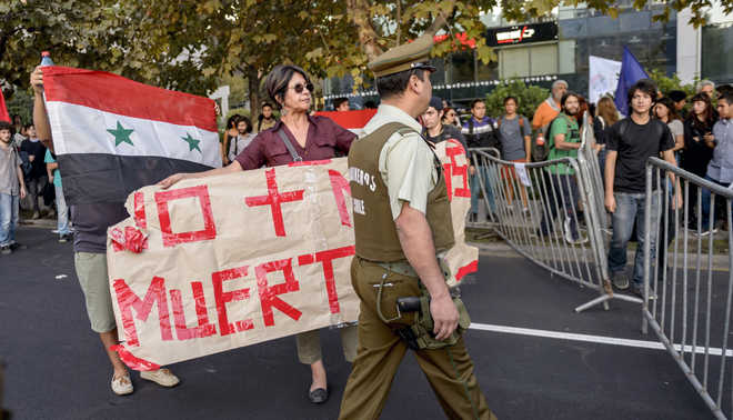 Protest against Syria strikes in US, Mexico, Chile