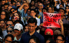 People participate in a protest against the rape of an eight-year-old girl in Kathua near Jammu, and a teenager in Unnao, Uttar Pradesh, in Mumbai, April 15. Reuters