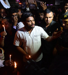 Patidar leader Hardik Patel during a candle light vigil to protest over government's alleged inaction in Kathua and Unnao rape cases, at Nikol in Ahmedabad. PTI