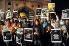 Students of Islamic Organizations (SIO) women wing hold placards during candle light vigil to protest the Kathua and Unnao rape cases, in front of Charminar in Old City of Hyderabad. PTI