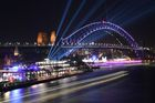 A ship passes the Harbour Bridge during the Vivid Sydney festival in Sydney on May 25, 2018. Vivid Sydney is an outdoor cultural festival featuring light installations and projections with the annual event this year running from May 25 to June 16. AFP photo